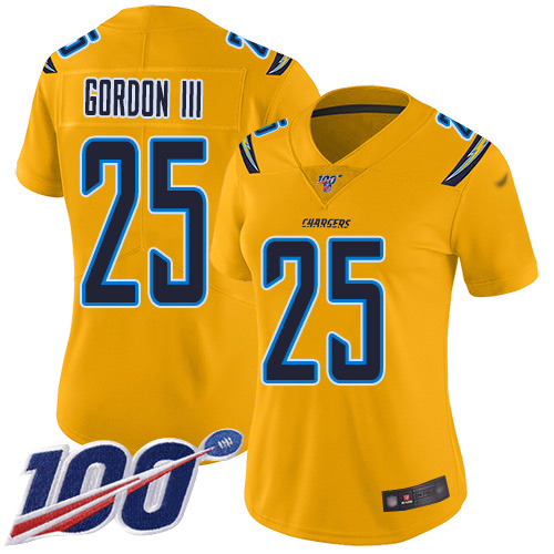 Nike Chargers #25 Melvin Gordon III Gold Women's Stitched NFL Limited Inverted Legend 100th Season Jersey