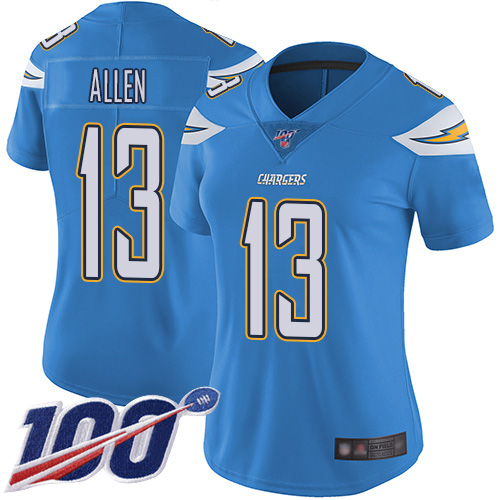 Nike Chargers #13 Keenan Allen Electric Blue Alternate Women's Stitched NFL 100th Season Vapor Limited Jersey