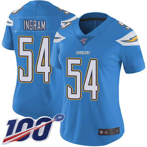 Nike Chargers #54 Melvin Ingram Electric Blue Alternate Women's Stitched NFL 100th Season Vapor Limited Jersey