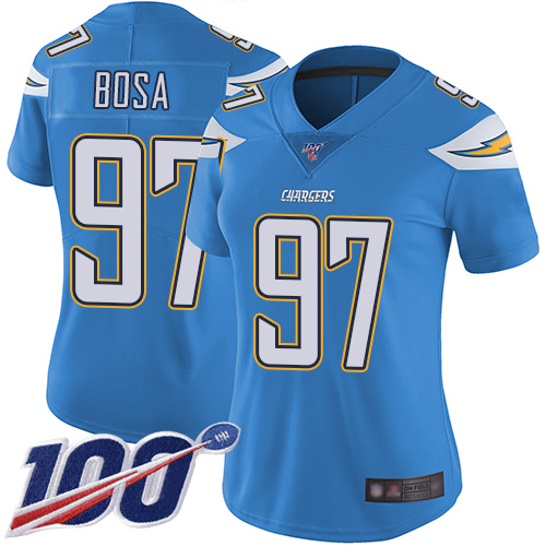 Nike Chargers #97 Joey Bosa Electric Blue Alternate Women's Stitched NFL 100th Season Vapor Limited Jersey