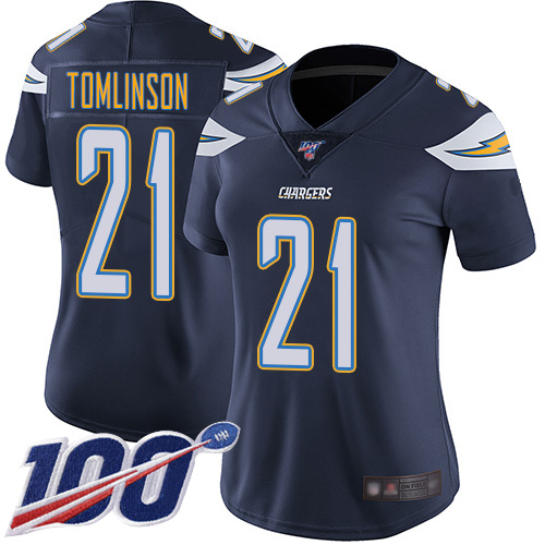 Nike Chargers #21 LaDainian Tomlinson Navy Blue Team Color Women's Stitched NFL 100th Season Vapor Limited Jersey
