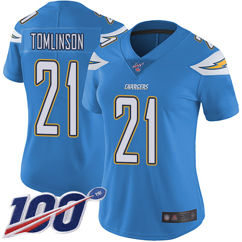 Nike Chargers #21 LaDainian Tomlinson Electric Blue Alternate Women's Stitched NFL 100th Season Vapor Limited Jersey