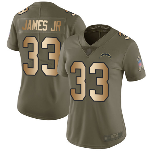 Nike Chargers #33 Derwin James Jr Olive Gold Women's Stitched NFL Limited 2017 Salute to Service Jersey