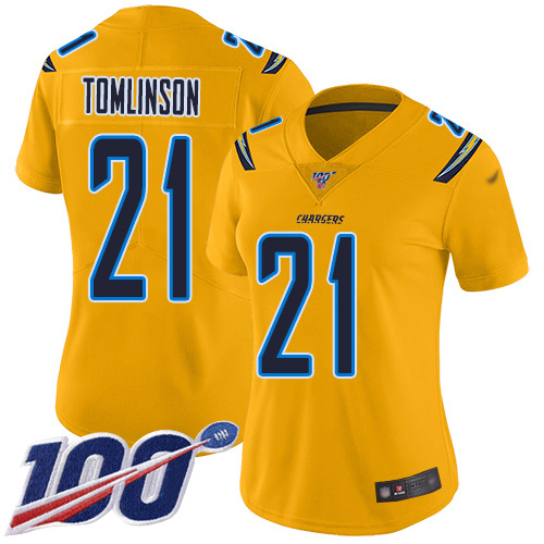 Nike Chargers #21 LaDainian Tomlinson Gold Women's Stitched NFL Limited Inverted Legend 100th Season Jersey