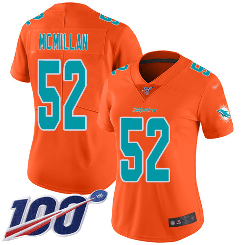 Nike Dolphins #52 Raekwon McMillan Orange Women's Stitched NFL Limited Inverted Legend 100th Season Jersey