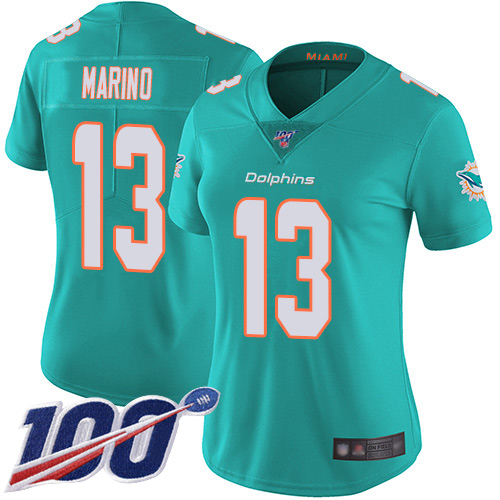 Nike Dolphins #13 Dan Marino Aqua Green Team Color Women's Stitched NFL 100th Season Vapor Limited Jersey