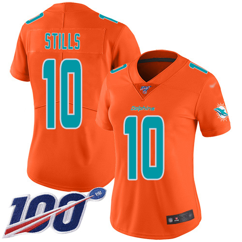 Nike Dolphins #10 Kenny Stills Orange Women's Stitched NFL Limited Inverted Legend 100th Season Jersey