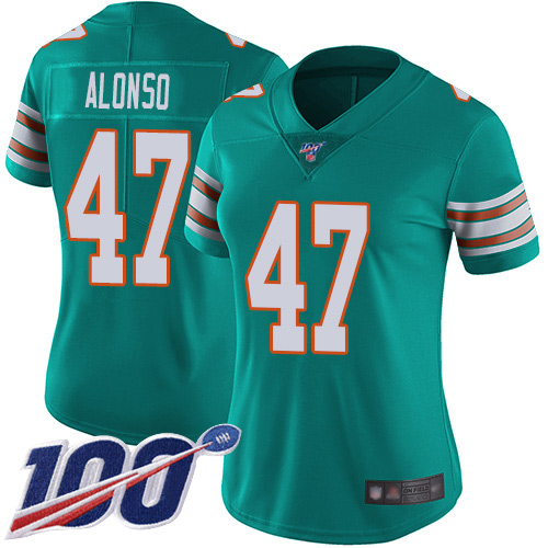 Nike Dolphins #47 Kiko Alonso Aqua Green Alternate Women's Stitched NFL 100th Season Vapor Limited Jersey