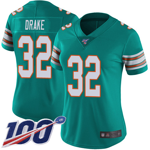 Nike Dolphins #32 Kenyan Drake Aqua Green Alternate Women's Stitched NFL 100th Season Vapor Limited Jersey