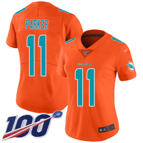 Nike Dolphins #11 DeVante Parker Orange Women's Stitched NFL Limited Inverted Legend 100th Season Jersey