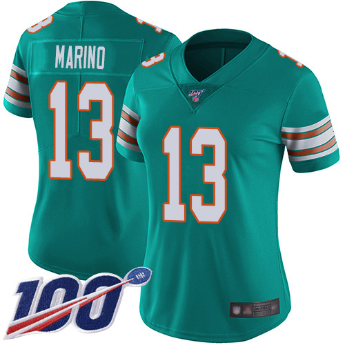 Nike Dolphins #13 Dan Marino Aqua Green Alternate Women's Stitched NFL 100th Season Vapor Limited Jersey