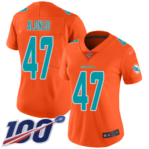 Nike Dolphins #47 Kiko Alonso Orange Women's Stitched NFL Limited Inverted Legend 100th Season Jersey