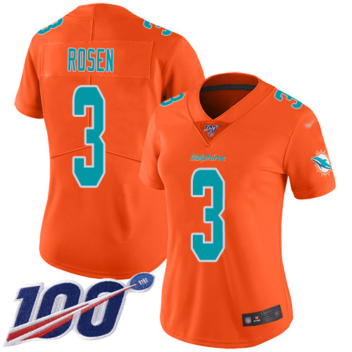 Nike Dolphins #3 Josh Rosen Orange Women's Stitched NFL Limited Inverted Legend 100th Season Jersey