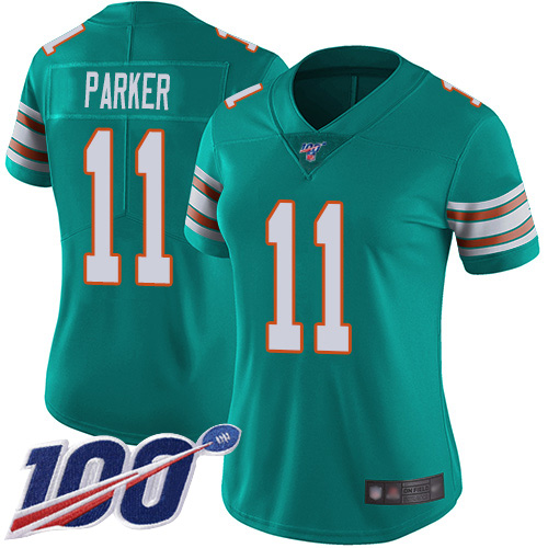 Nike Dolphins #11 DeVante Parker Aqua Green Alternate Women's Stitched NFL 100th Season Vapor Limited Jersey