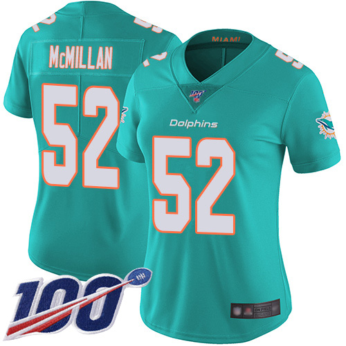 Nike Dolphins #52 Raekwon McMillan Aqua Green Team Color Women's Stitched NFL 100th Season Vapor Limited Jersey