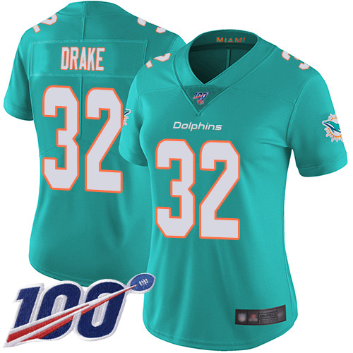 Nike Dolphins #32 Kenyan Drake Aqua Green Team Color Women's Stitched NFL 100th Season Vapor Limited Jersey