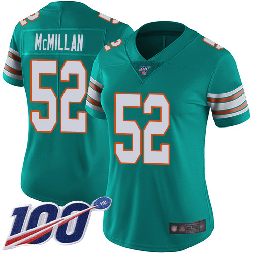 Nike Dolphins #52 Raekwon McMillan Aqua Green Alternate Women's Stitched NFL 100th Season Vapor Limited Jersey