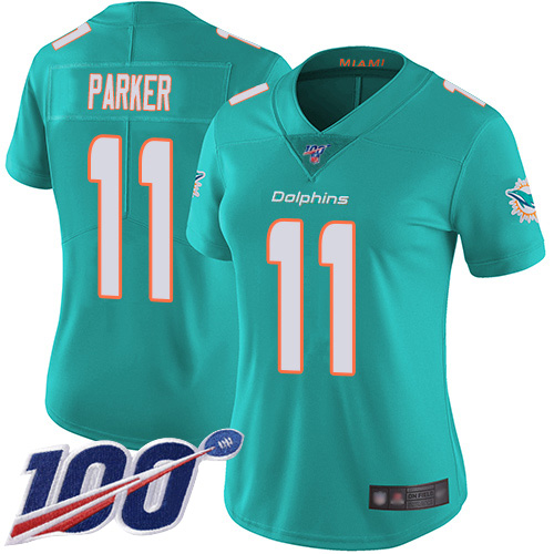 Nike Dolphins #11 DeVante Parker Aqua Green Team Color Women's Stitched NFL 100th Season Vapor Limited Jersey