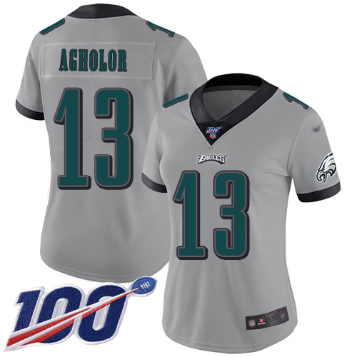 Nike Eagles #13 Nelson Agholor Silver Women's Stitched NFL Limited Inverted Legend 100th Season Jersey