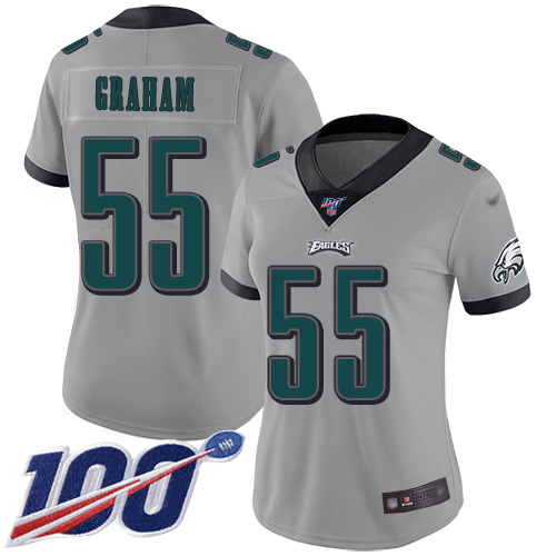 Nike Eagles #55 Brandon Graham Silver Women's Stitched NFL Limited Inverted Legend 100th Season Jersey