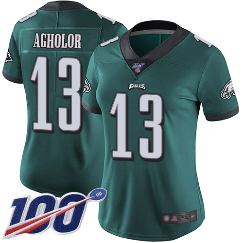 Nike Eagles #13 Nelson Agholor Midnight Green Team Color Women's Stitched NFL 100th Season Vapor Limited Jersey