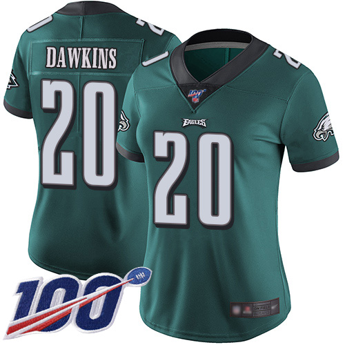 Nike Eagles #20 Brian Dawkins Midnight Green Team Color Women's Stitched NFL 100th Season Vapor Limited Jersey