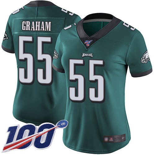 Nike Eagles #55 Brandon Graham Midnight Green Team Color Women's Stitched NFL 100th Season Vapor Limited Jersey
