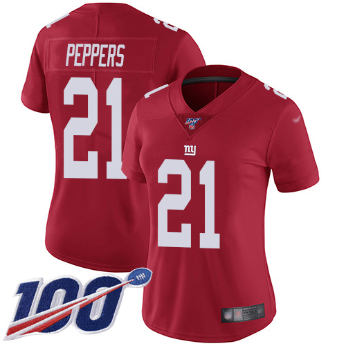 Nike Giants #21 Jabrill Peppers Red Alternate Women's Stitched NFL 100th Season Vapor Limited Jersey