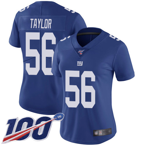 Nike Giants #56 Lawrence Taylor Royal Blue Team Color Women's Stitched NFL 100th Season Vapor Limited Jersey