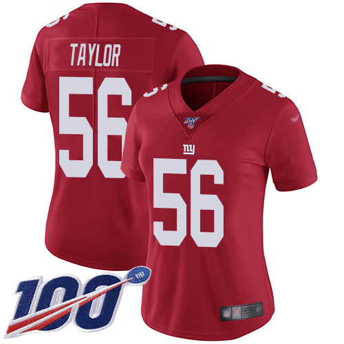 Nike Giants #56 Lawrence Taylor Red Women's Stitched NFL Limited Inverted Legend 100th Season Jersey