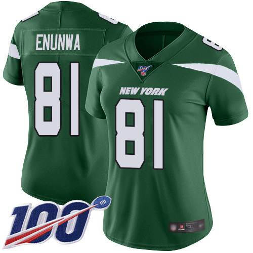 Nike Jets #81 Quincy Enunwa Green Team Color Women's Stitched NFL 100th Season Vapor Limited Jersey