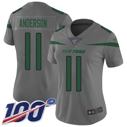 Nike Jets #11 Robby Anderson Gray Women's Stitched NFL Limited Inverted Legend 100th Season Jersey