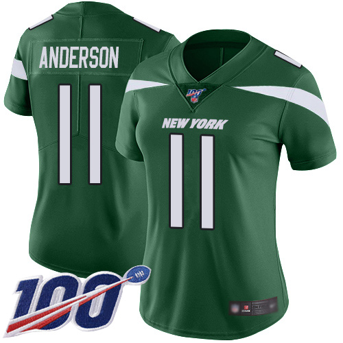 Nike Jets #11 Robby Anderson Green Team Color Women's Stitched NFL 100th Season Vapor Limited Jersey