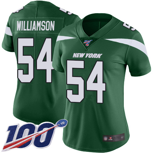 Nike Jets #54 Avery Williamson Green Team Color Women's Stitched NFL 100th Season Vapor Limited Jersey