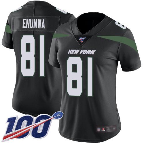 Nike Jets #81 Quincy Enunwa Black Alternate Women's Stitched NFL 100th Season Vapor Limited Jersey