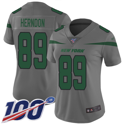 Nike Jets #89 Chris Herndon Gray Women's Stitched NFL Limited Inverted Legend 100th Season Jersey