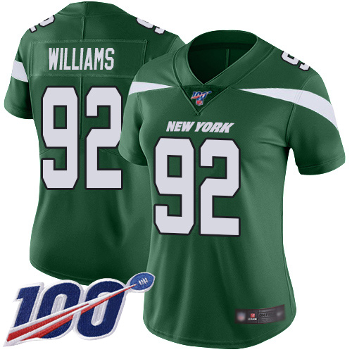 Nike Jets #92 Leonard Williams Green Team Color Women's Stitched NFL 100th Season Vapor Limited Jersey