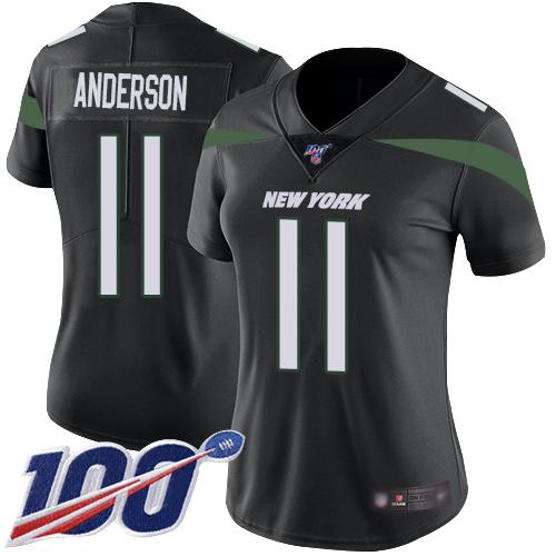 Nike Jets #11 Robby Anderson Black Alternate Women's Stitched NFL 100th Season Vapor Limited Jersey