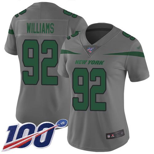 Nike Jets #92 Leonard Williams Gray Women's Stitched NFL Limited Inverted Legend 100th Season Jersey