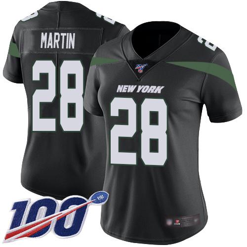 Nike Jets #28 Curtis Martin Black Alternate Women's Stitched NFL 100th Season Vapor Limited Jersey
