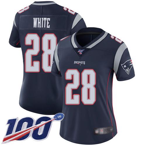 Nike Patriots #28 James White Navy Blue Team Color Women's Stitched NFL 100th Season Vapor Limited Jersey