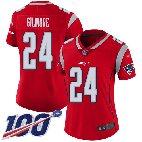 Nike Patriots #24 Stephon Gilmore Red Women's Stitched NFL Limited Inverted Legend 100th Season Jersey
