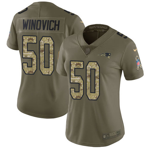 Nike Patriots #50 Chase Winovich Olive Camo Women's Stitched NFL Limited 2017 Salute to Service Jersey