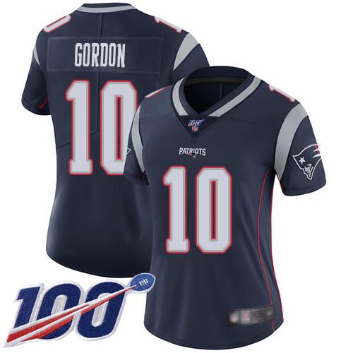 Nike Patriots #10 Josh Gordon Navy Blue Team Color Women's Stitched NFL 100th Season Vapor Limited Jersey