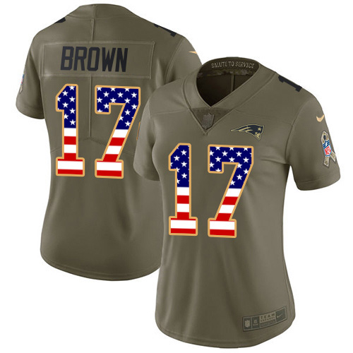 Nike Patriots #17 Antonio Brown Olive USA Flag Women's Stitched NFL Limited 2017 Salute to Service Jersey