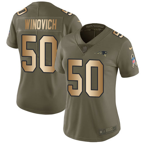 Nike Patriots #50 Chase Winovich Olive Gold Women's Stitched NFL Limited 2017 Salute to Service Jersey