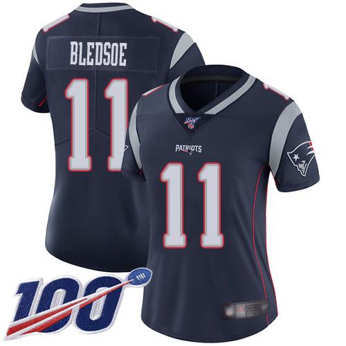 Nike Patriots #11 Drew Bledsoe Navy Blue Team Color Women's Stitched NFL 100th Season Vapor Limited Jersey