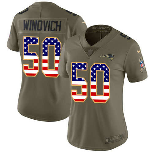 Nike Patriots #50 Chase Winovich Olive USA Flag Women's Stitched NFL Limited 2017 Salute to Service Jersey