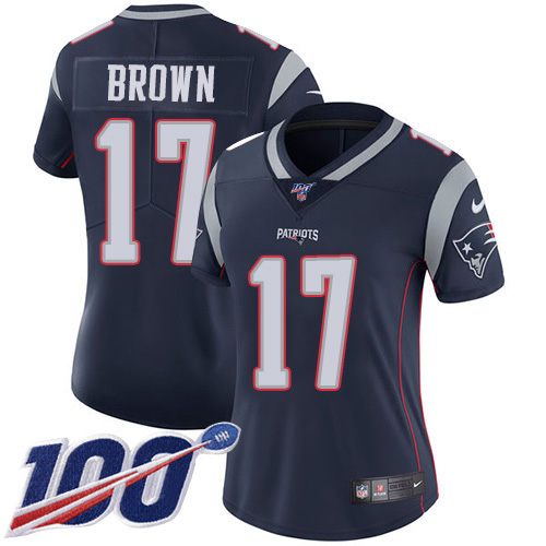 Nike Patriots #17 Antonio Brown Navy Blue Team Color Women's Stitched NFL 100th Season Vapor Limited Jersey