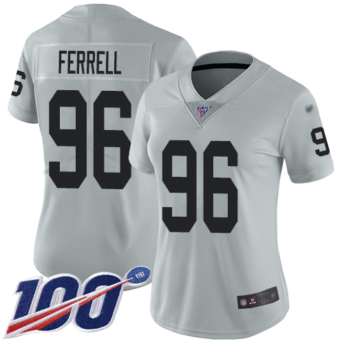 Nike Raiders #96 Clelin Ferrell Silver Women's Stitched NFL Limited Inverted Legend 100th Season Jersey